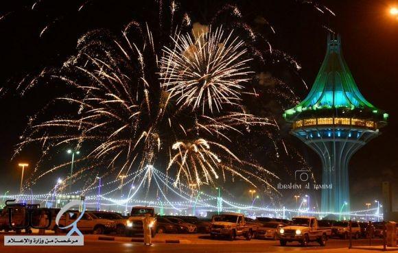 برج #الخرج يحتفي بالمنتخب السعودي المبدع كبير مصوري الخرج الأستاذ إبراهيم التميمي