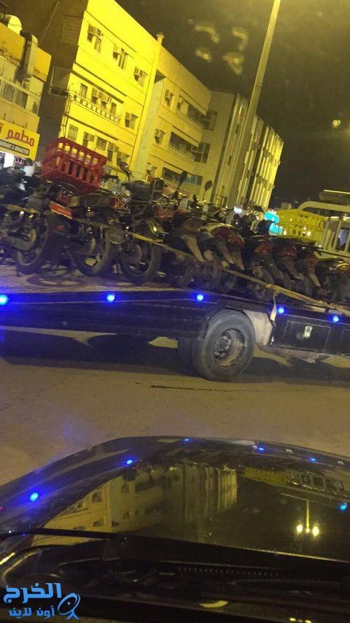 بمتابعة قائد دوريات أمن الخرج مصادرة عدد كبير من الدراجات النارية