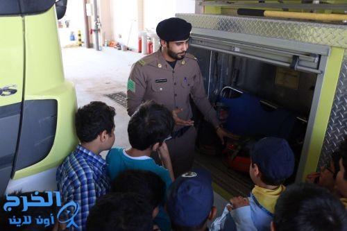 طلاب  مدارس اجيال الخرج الاهلية يطلعون على خدمات الدفاع المدني