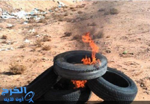 حرق المخلفات بمزارع الخرج من يوقفها