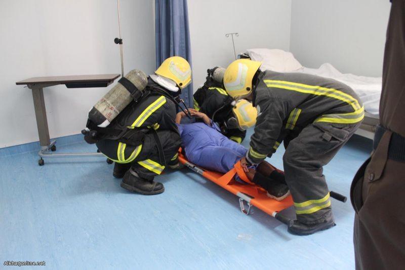 بالتعاون مع مستشفى الدلم، إدارة الدفاع المدني تنفذ فرضية حريق وهمي
