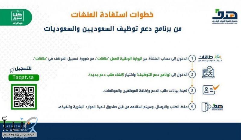 """""""هدف"""" : برنامج دعم التوظيف مستمر في استقبال تسجيل المنشآت لدعم أجور السعوديين"""