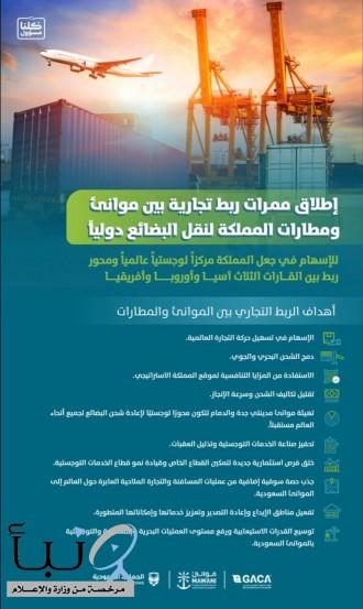 إطلاق ممرات ربط تجارية بين موانئ المملكة ومطاراتها لنقل البضائع دولياً