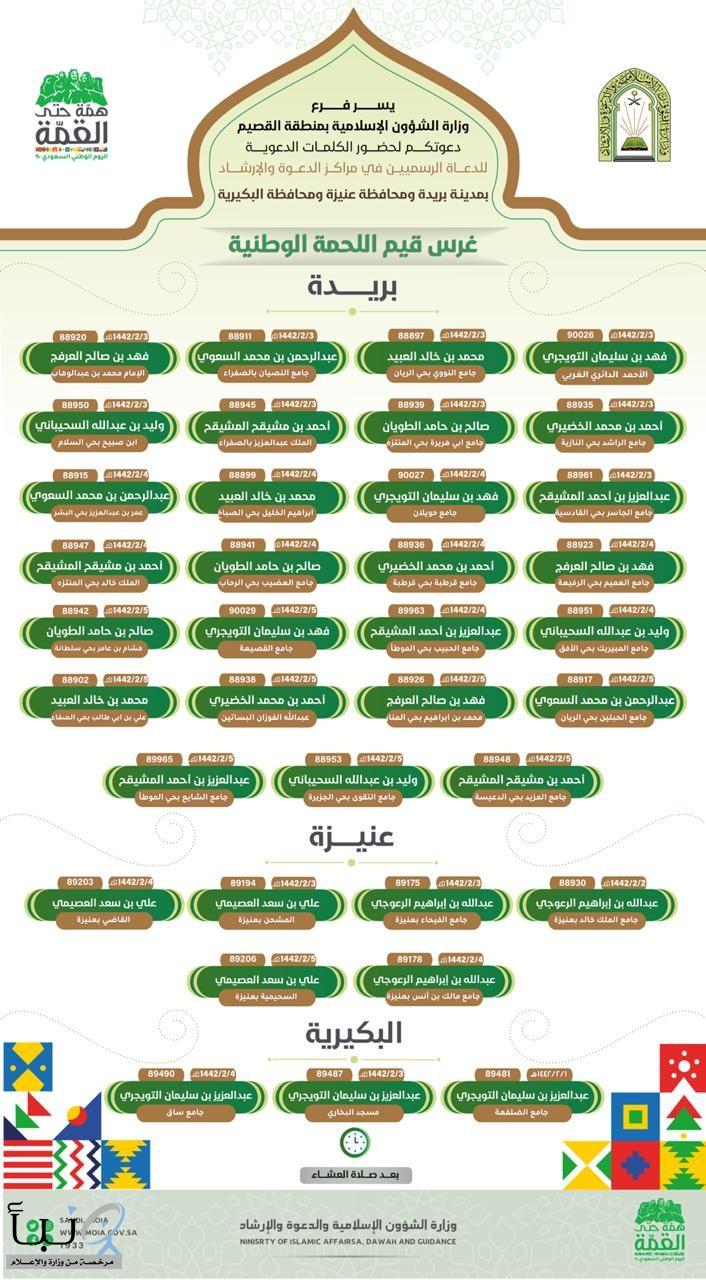 الشؤون الإسلامية بالقصيم تطلق 36 كلمة لغرس اللحمة الوطنية
