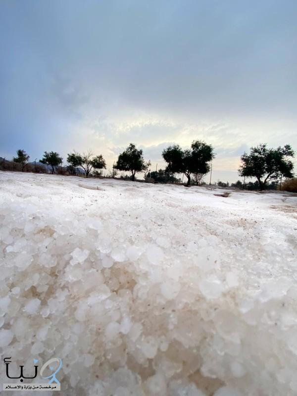 حائل تلبس البياض وتعانق السحاب..والثلوج تغطي مرتفعات #أَجَا