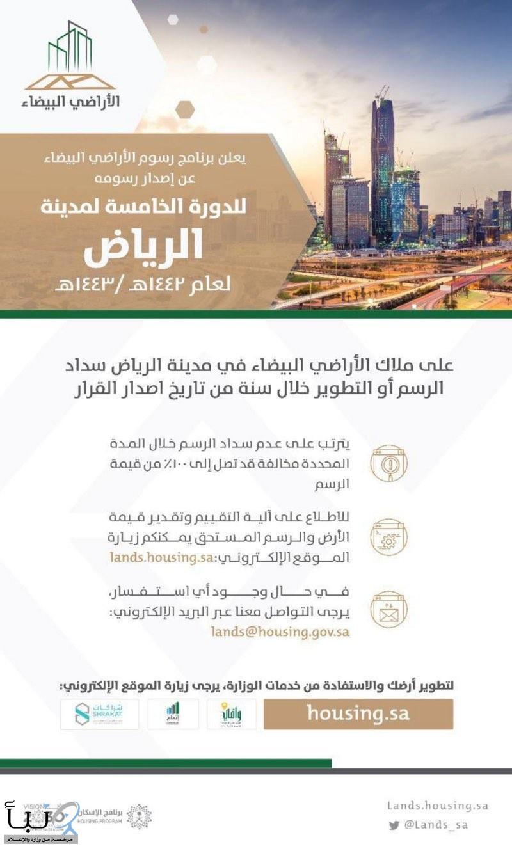 برنامج رسوم الأراضي البيضاء يعلن إصدار رسوم الدورة الخامسة لمدينة #الرياض