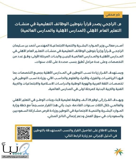 وزير الموارد البشرية يصدر قراراً بتوطين الوظائف التعليمية في منشآت التعليم العام الأهلي #عاجل