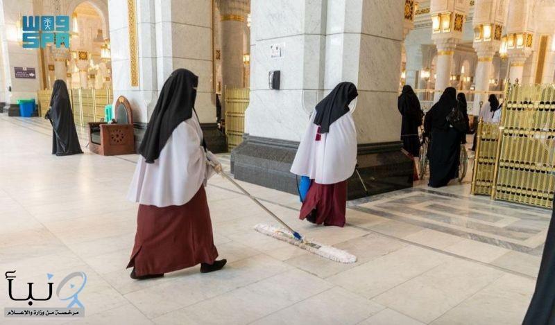 الانتهاء من تعقيم المصليات النسائية 85 مرة ليلة ختم القرآن الكريم