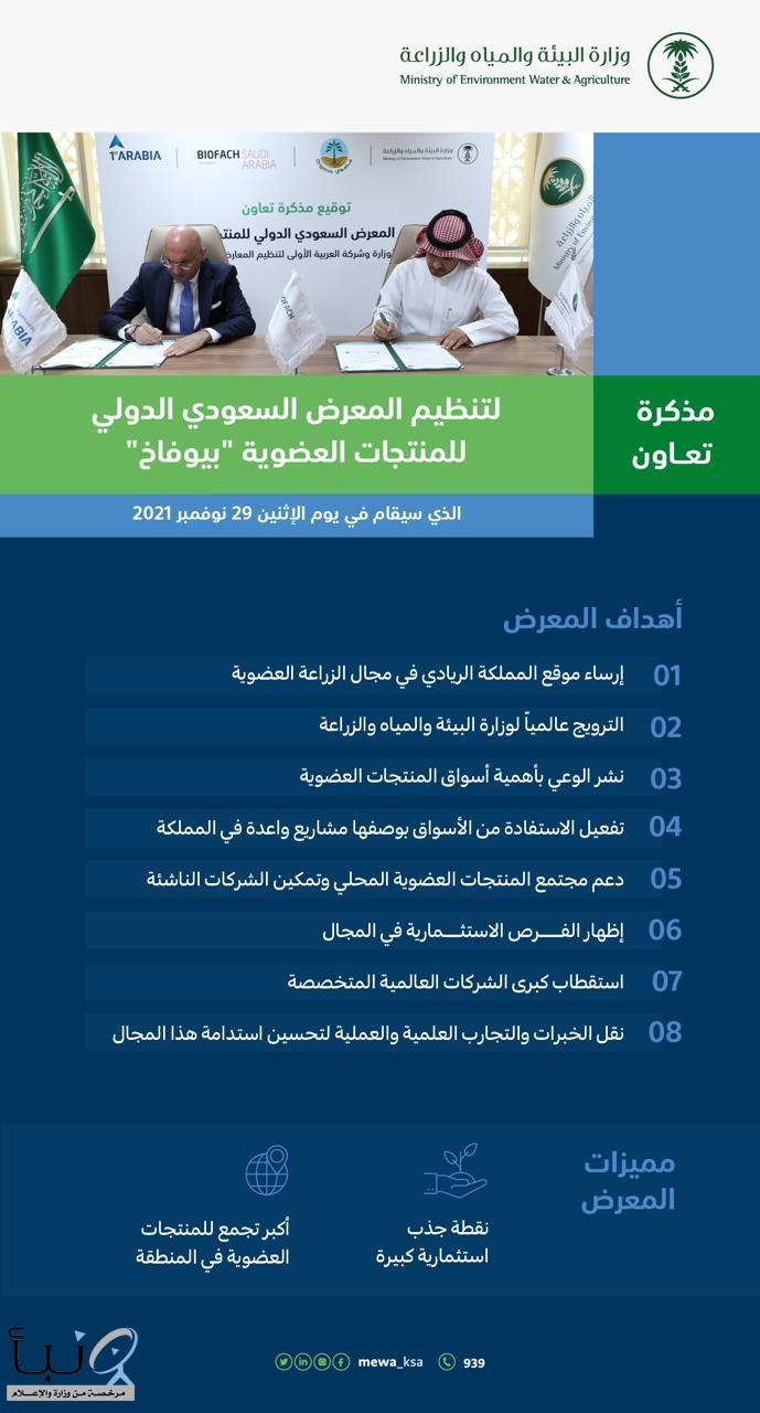 """مذكرة تفاهم بين """"البيئة"""" و""""شركة العربية الأولى"""" لتنظيم المعرض السعودي الدولي للمنتجات العضوية"""