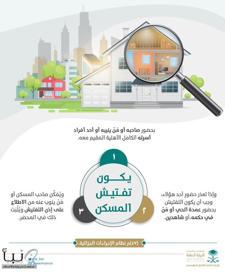 النيابة العامة: للمساكن حرمتها ولا يجوز تفتيشها إلا في الحالات التي يبيّنها النظام